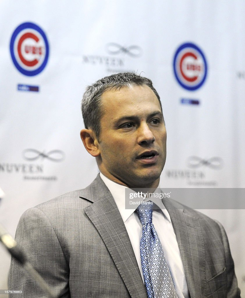 Chicago Cubs General Manager Jed Hoyer introduces Cubs new pitcher Kyuji Fujikawa to the media on December 7, 2012 at Wrigley Field in Chicago, Illinois.