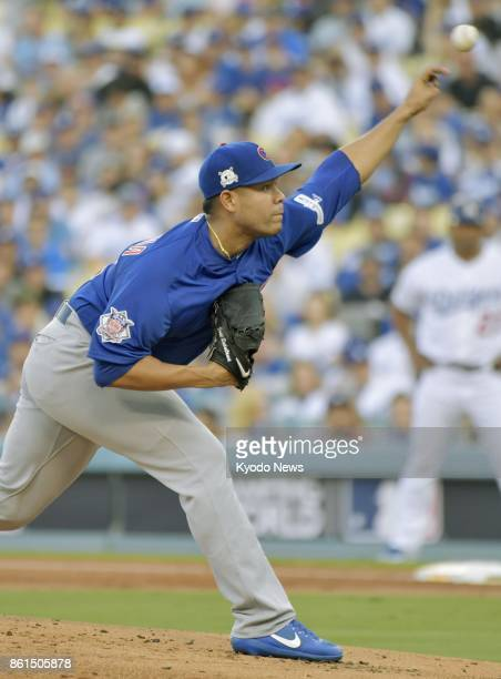 Chicago Cubs' Jose Quintana pitches against the Los Angeles Dodgers during a National League Championship Series game at Dodger Stadium in Los...