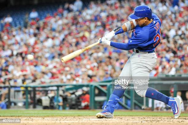 Chicago Cubs left fielder Jon Jay at bat during an MLB game between the Chicago Cubs and the Washington Nationals on June 27 at Nationals Park in...