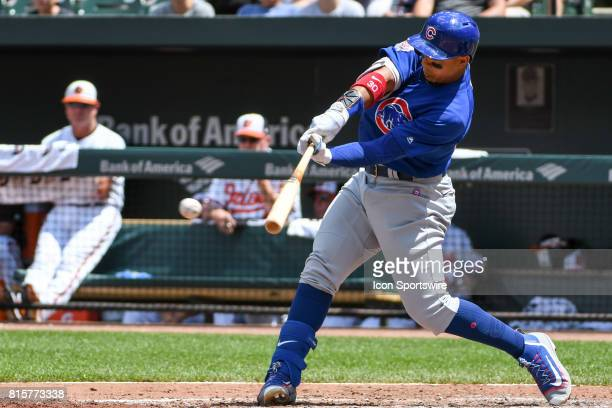 Chicago Cubs left fielder Jon Jay gets a base hit during an MLB game between the Chicago Cubs and the Baltimore Orioles on July 16 at Orioles Park at...