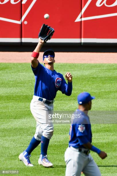Chicago Cubs left fielder Jon Jay makes a catch during an MLB game between the Chicago Cubs and the Baltimore Orioles on July 16 at Orioles Park at...