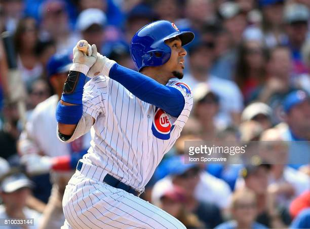 Chicago Cubs left fielder Jon Jay watches the ball leave the park during the game between the Tampa Bay Rays and the Chicago Cubs on July 5 2017 at...