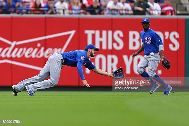 Chicago Cubs left fielder Kris Bryant makes the catch for the out in the 4th inning against the St Louis Cardinals at Bush Stadium