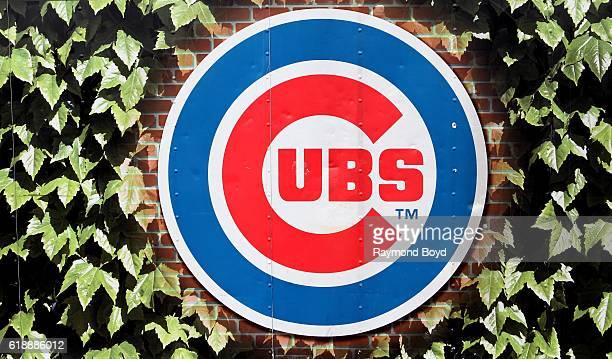 Chicago Cubs logo signage on Addison Street outside Wrigley Field home of the Chicago Cubs baseball team in Chicago Illinois on October 27 2016