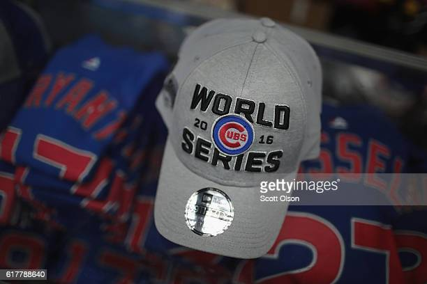 Chicago Cubs merchandise is offered for sale at Sports World Chicago across from Wrigley Field on October 24 2016 in Chicago Illinois The Cubs will...