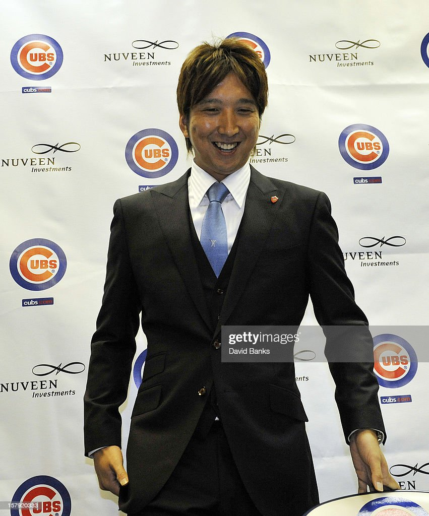 Chicago Cubs new pitcher Kyuji Fujikawa is introduced to the media by the Chicago Cubs on December 7, 2012 at Wrigley Field in Chicago, Illinois.
