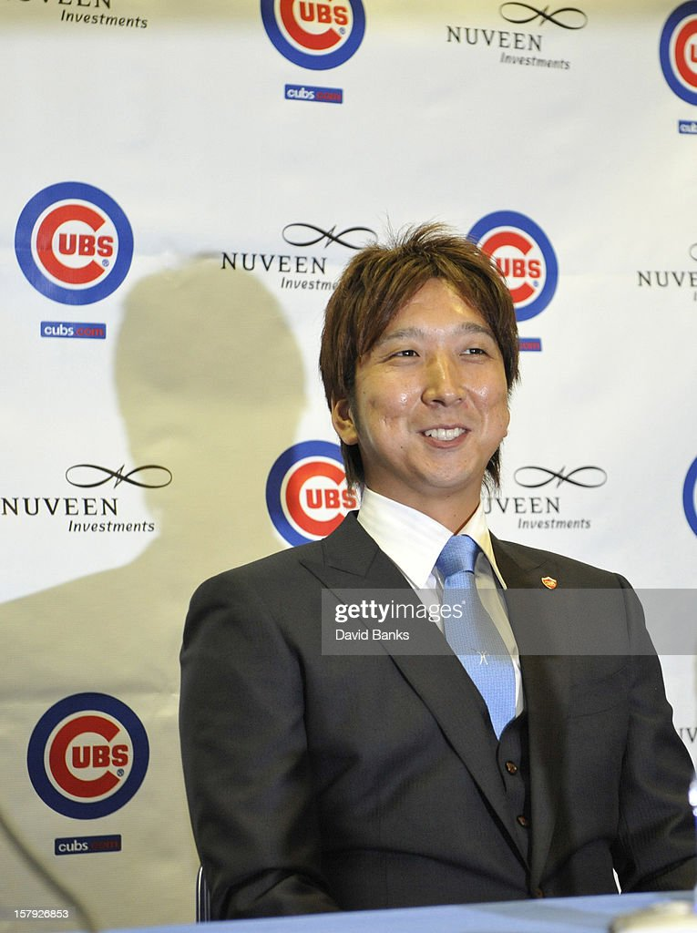 Chicago Cubs new pitcher Kyuji Fujikawa is introduced to the media on December 7, 2012 at Wrigley Field in Chicago, Illinois.