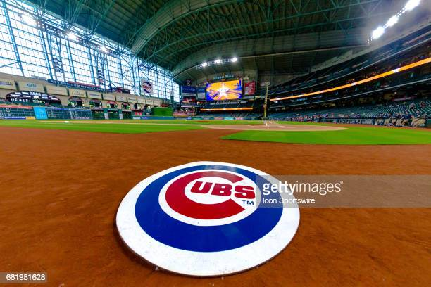 Chicago Cubs ondeck circle logo wide angle view of Minute Maid Park before the baseball game between the Houston Astros and the Chicago Cubs on March...