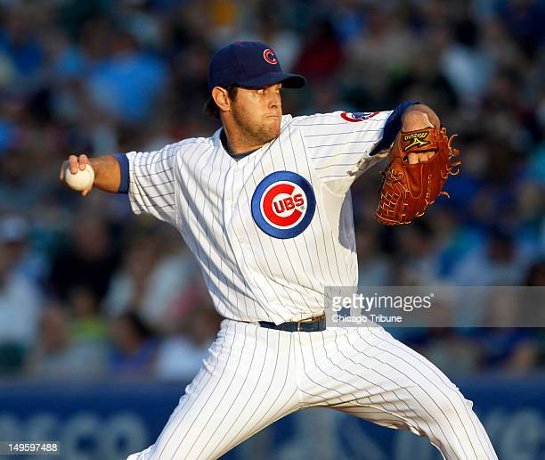 Chicago Cubs pitcher Casey Coleman throws against the Pittsburgh Pirates during the first inning at Wrigley Field in Chicago Illinois on Tuesday July...