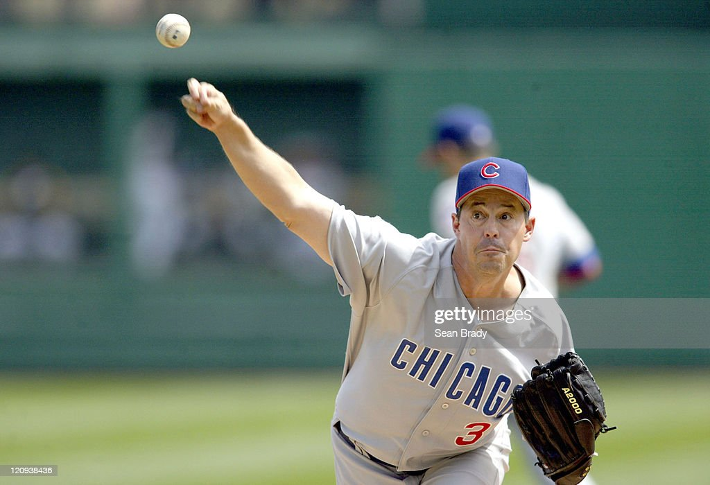 Chicago Cubs pitcher <a gi-track='captionPersonalityLinkClicked' href=/galleries/search?phrase=Greg+Maddux&family=editorial&specificpeople=202173 ng-click='$event.stopPropagation()'>Greg Maddux</a> in action against the Pittsburgh Pirates at PNC Park in Pittsburgh, Pennsylvania on April 17, 2005.