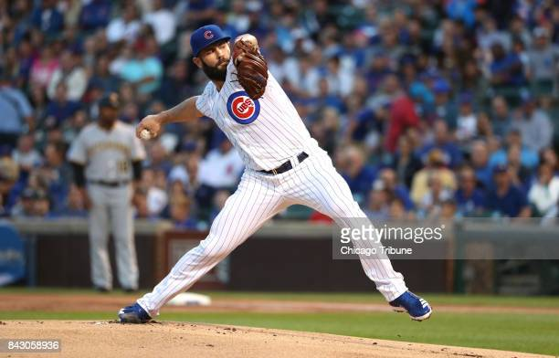 Chicago Cubs pitcher Jake Arrieta works against the Pittsburgh Pirates in the first inning at Wrigley Field in Chicago on Tuesday Aug 29 2017 The...