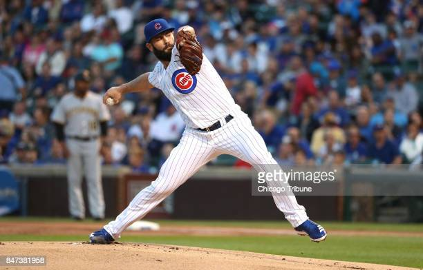 Chicago Cubs pitcher Jake Arrieta works against the Pittsburgh Pirates in the first inning at Wrigley Field in Chicago on Tuesday Aug 29 2017
