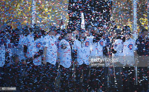 Chicago Cubs players attend a rally held in Grant Park to celebrate the team's World Series victory on November 4 2016 in Chicago Illinois Hundreds...