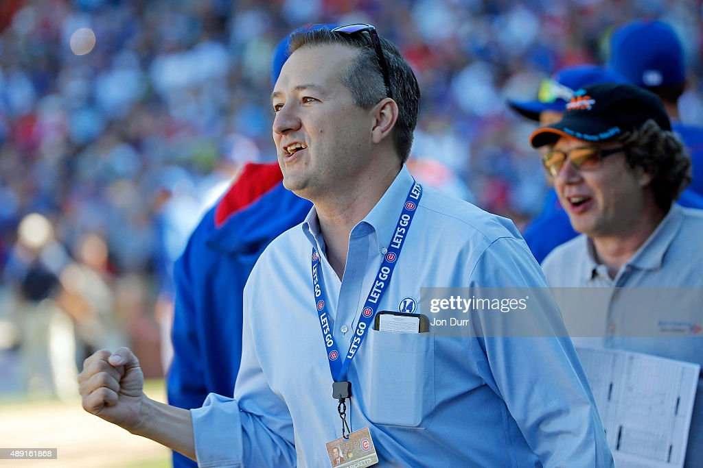 Chicago Cubs President and CEO Tom Ricketts celebrates the Chicago Cubs win over the St. Louis Cardinals at Wrigley Field on September 19, 2015 in Chicago, Illinois. The Chicago Cubs won 5-4.