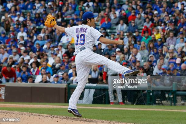 Chicago Cubs relief pitcher Koji Uehara works in the ninth inning against the Washington Nationals at Wrigley Field on Friday Aug 4 2017 The...