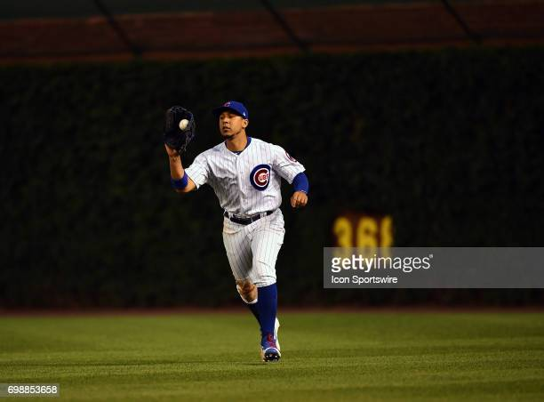 Chicago Cubs right fielder Jon Jay catches the ball for an out during the game between the San Diego Padres and the Chicago Cubs on June 19 2017 at...