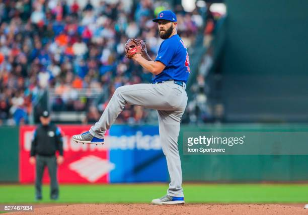 Chicago Cubs starting pitcher Jake Arrieta delivers a pitch during the regular season game between the San Francisco Giants and the Chicago Cubs on...