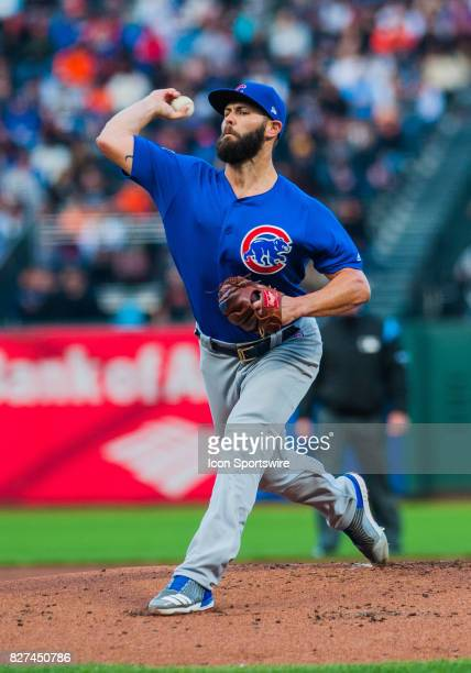 Chicago Cubs starting pitcher Jake Arrieta delivers a pitch in the first inning during the regular season game between the San Francisco Giants and...