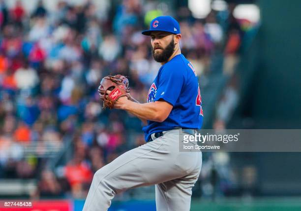 Chicago Cubs starting pitcher Jake Arrieta during the regular season game between the San Francisco Giants and the Chicago Cubs on August 07 2017 at...