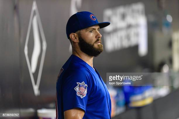 Chicago Cubs starting pitcher Jake Arrieta in the dugout after in the 7th inning during an MLB game between the Chicago Cubs and the Chicago White...