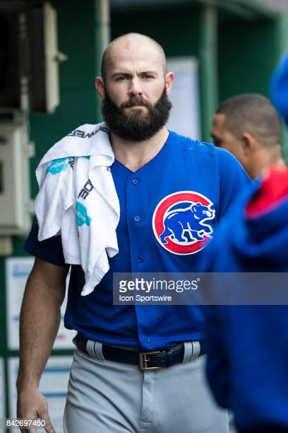 Chicago Cubs Starting pitcher Jake Arrieta looks on during the game between the Chicago Cubs and the Pittsburgh Pirates on September 4 2017 at PNC...
