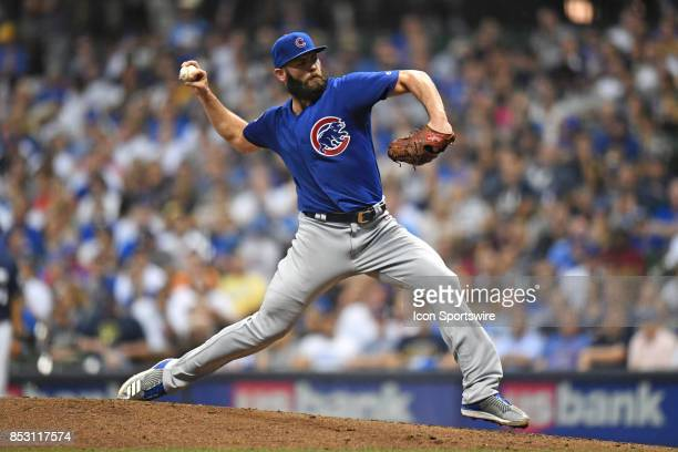 Chicago Cubs starting pitcher Jake Arrieta pitches during a game between the and the Chicago Cubs the Milwaukee Brewers on September 21 at Miller...