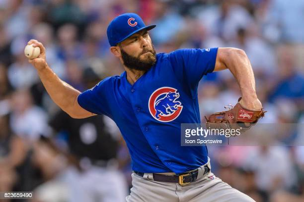 Chicago Cubs starting pitcher Jake Arrieta pitches in the 1st inning during an MLB game between the Chicago Cubs and the Chicago White Sox on July 26...