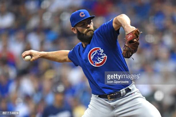 Chicago Cubs starting pitcher Jake Arrieta pitches in the first inning during a game between the and the Chicago Cubs the Milwaukee Brewers on...