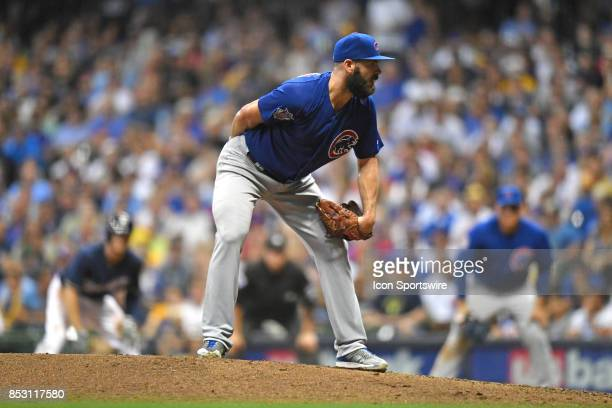 Chicago Cubs starting pitcher Jake Arrieta prepares to pitch during a game between the and the Chicago Cubs the Milwaukee Brewers on September 21 at...