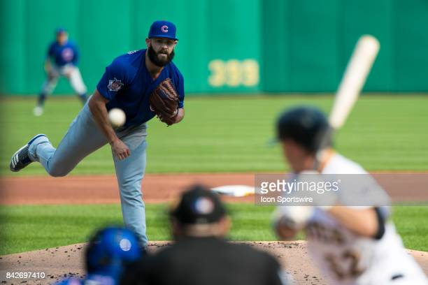 Chicago Cubs Starting pitcher Jake Arrieta throws a pitch during the game between the Chicago Cubs and the Pittsburgh Pirates on September 4 2017 at...