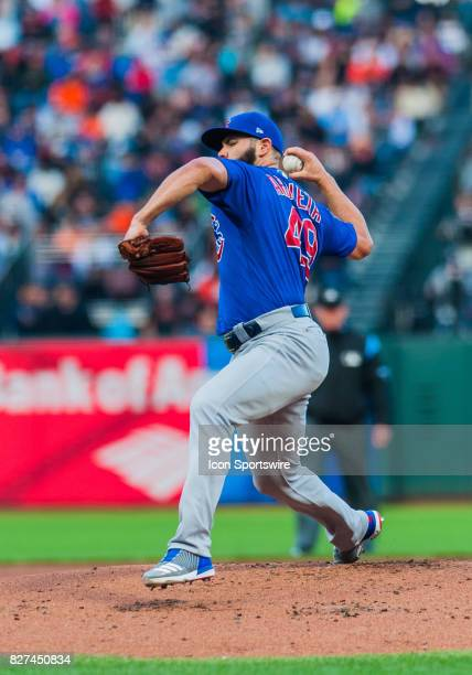 Chicago Cubs starting pitcher Jake Arrieta throws in the first inning during the regular season game between the San Francisco Giants and the Chicago...