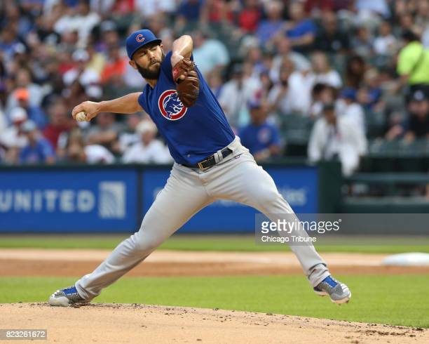Chicago Cubs starting pitcher Jake Arrieta works against the Chicago White Sox during the first inning at Guaranteed Rate Field in Chicago on...