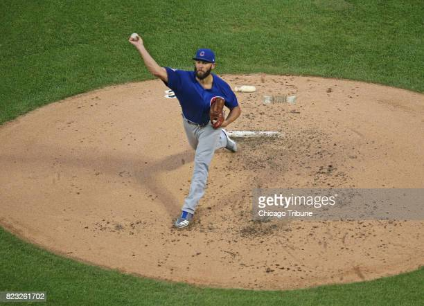 Chicago Cubs starting pitcher Jake Arrieta works against the Chicago White Sox during the second inning at Guaranteed Rate Field in Chicago on...