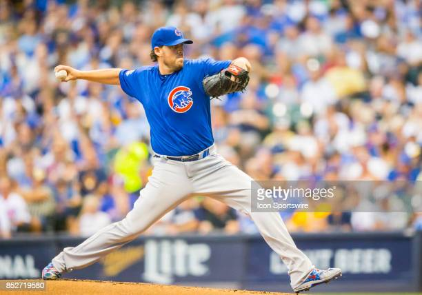 Chicago Cubs Starting pitcher John Lackey during the second game of the final home series between the Milwaukee Brewers and the Chicago Cubs on...