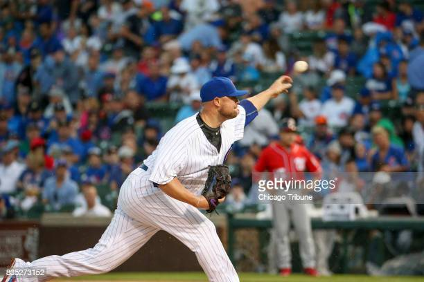 Chicago Cubs starting pitcher Jon Lester pitches during the first inning against the Washington Nationals on Sunday Aug 6 2017 at Wrigley Field in...