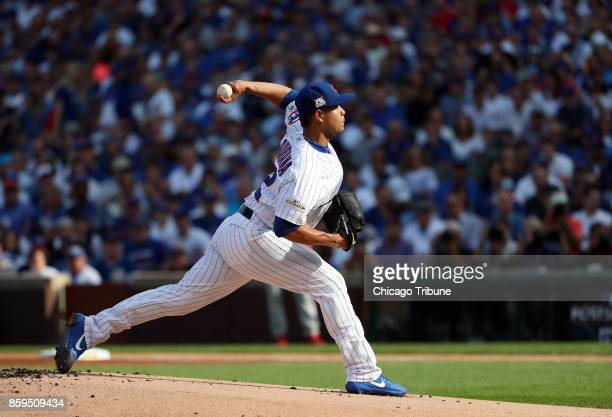 Chicago Cubs starting pitcher Jose Quintana delivers against the Washington Nationals in the first inning Monday Oct 9 2017 in Game 3 of a National...