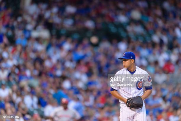 Chicago Cubs starting pitcher Jose Quintana throws in the 1st inning during an MLB game between the Cincinnati Reds and the Chicago Cubs on August 14...