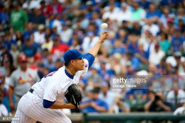 Chicago Cubs starting pitcher Jose Quintana works against the St Louis Cardinals on September 17 at Wrigley Field in Chicago