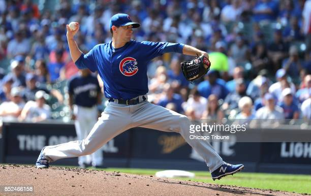 Chicago Cubs starting pitcher Kyle Hendricks delivers to the Milwaukee Brewers in the first inning on Saturday Sept 23 2017 at Miller Park in...