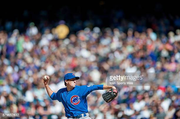 Chicago Cubs starting pitcher Kyle Hendricks pitches during a regular season Major League Baseball game between the Chicago Cubs and the Colorado...