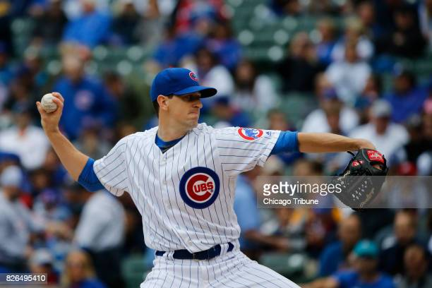 Chicago Cubs starting pitcher Kyle Hendricks works in the first inning against the Washington Nationals at Wrigley Field on Friday Aug 4 2017 The...