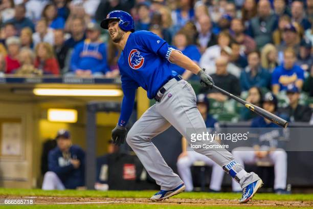 Chicago Cubs Third base Kris Bryant smiles after hitting a ball during an MLB game between the Chicago Cubs and the Milwaukee Brewers on April 8 at...
