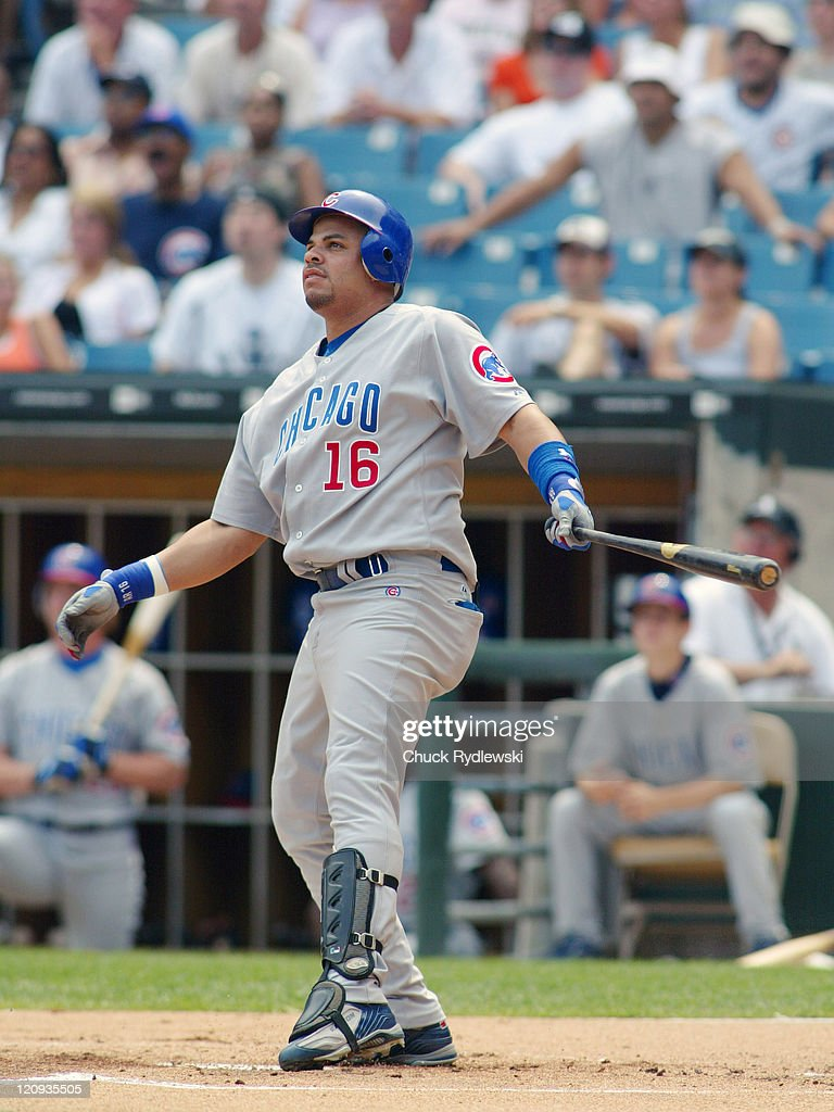 Chicago Cubs third baseman Aramis Ramirez admires his firstinning grand slam during the game against the Chicago White Sox June 25 2005 at US...