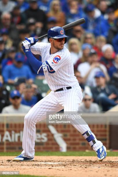 Chicago Cubs third baseman Kris Bryant at bat during a game between the Pittsburgh Pirates and the Chicago Cubs on April 14 at Wrigley Field in...