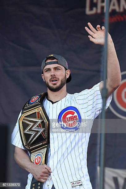 Chicago Cubs third baseman Kris Bryant during the Chicago Cubs World Series victory rally on November 4 at Grant Park in Chicago IL