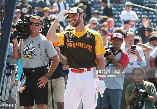 Chicago Cubs third baseman Kris Bryant during the National League team batting practice before the AllStar Home Run Derby at Petco Park in San Diego...
