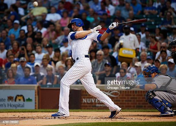 Chicago Cubs third baseman Kris Bryant fouls a ball into left field against the Los Angeles Dodgers on Monday June 22 at Wrigley Field in Chicago