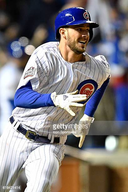 Chicago Cubs third baseman Kris Bryant hits a home run during the fourth inning of the 2016 World Series Game 5 between the Cleveland Indians and the...