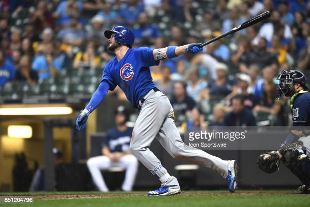 Chicago Cubs third baseman Kris Bryant hits a two run home run in the tenth inning during a game between the and the Chicago Cubs the Milwaukee...