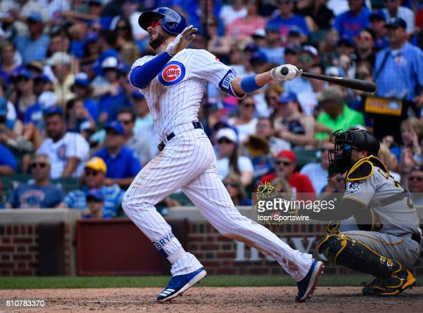 Chicago Cubs third baseman Kris Bryant hits the ball for a home run during the game between the Pittsburg Pirates and the Chicago Cubs on July 7 2017...